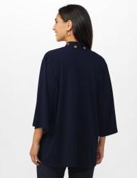 Roz & Ali Kimono Sleeve Grommet Cardigan - Navy - Back