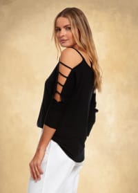 3/4 Sleeve Strappy Shoulder Knit Top - Black - Back