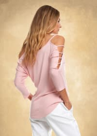 3/4 Sleeve Strappy Shoulder Knit Top - Rose - Back