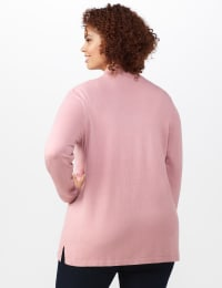 Roz & Ali Scallop Trim Cardigan - Plus - Misty Rose - Back