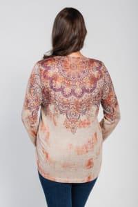 Bohemian Culture Rhinestone Knit Top - Plus - Orange Multi - Back