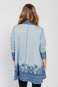 Border Print Open Knit Cardigan - Misses - Blue - Back