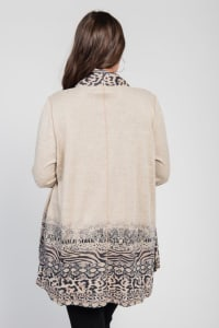 Pre-Order Border Print Open Knit Cardigan - Plus - brown - Back