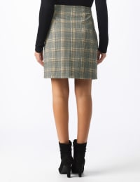 Plaid A Line Skirt with Patch Pockets - Black/masala - Back