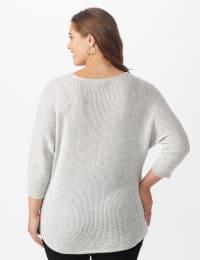 Westport Thermal Stitch Curved Hem Sweater - Plus - Fog Heather - Back