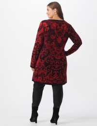 Roz & Ali Jacquard Duster Sweater - Plus - Multi - Back