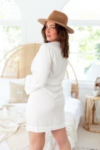 Curve Tamara Dress - Plus - White - Back