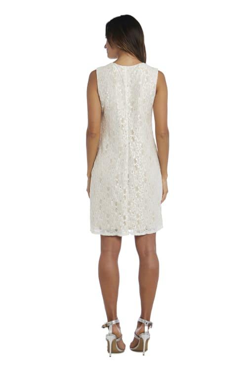 Beaded Neck Lace Dress With Cascade Jacket - Back