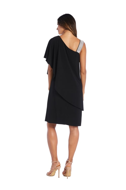 Asymmetric Knee-Length Dress with Draped Shoulder and Diamante Strap - Back