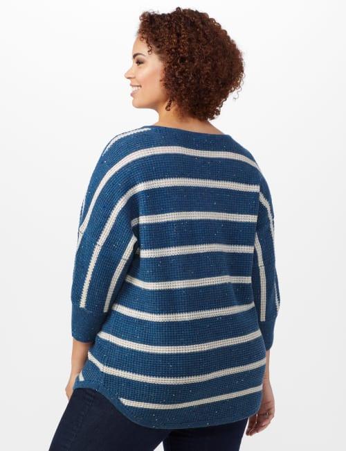 Westport Stripe Curved Hem Sweater - Plus - Back