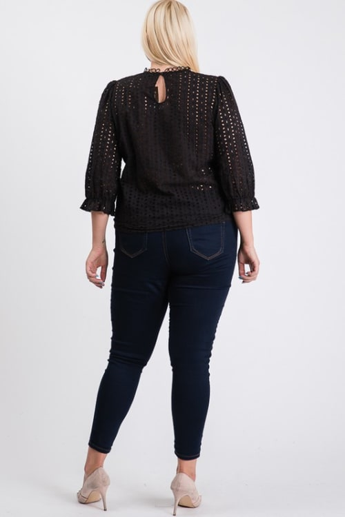 Stand Collar Eyelet Top - Back