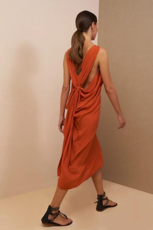 Iluh V-Neck Kaftan Dress - Back