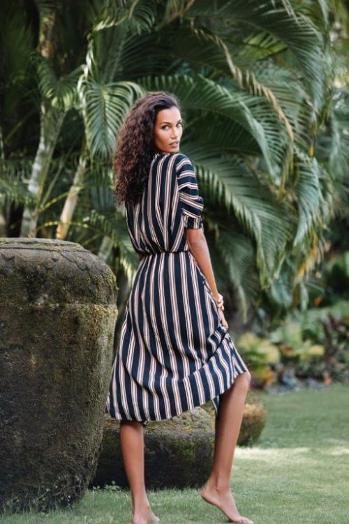 Kaftan V-Neckline Striped Dress - Back