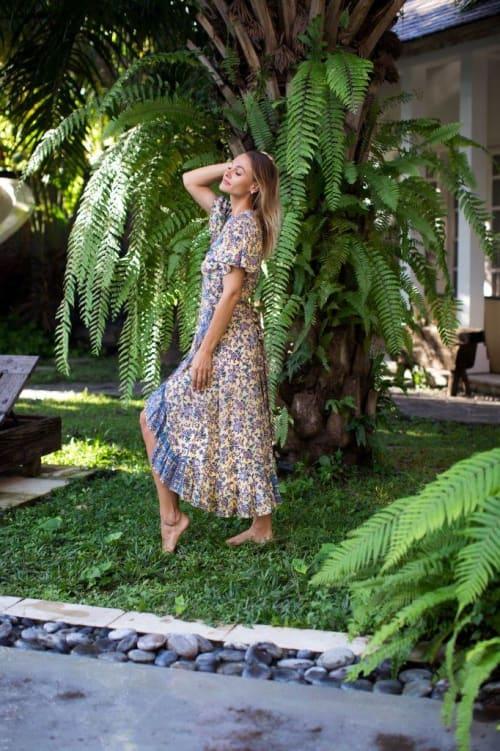 Dahlia Print Wrap Vibrant Print Dress - Back
