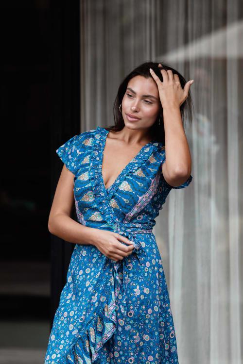 Short Sleeve Wrap Blue Maxi Dress - Back