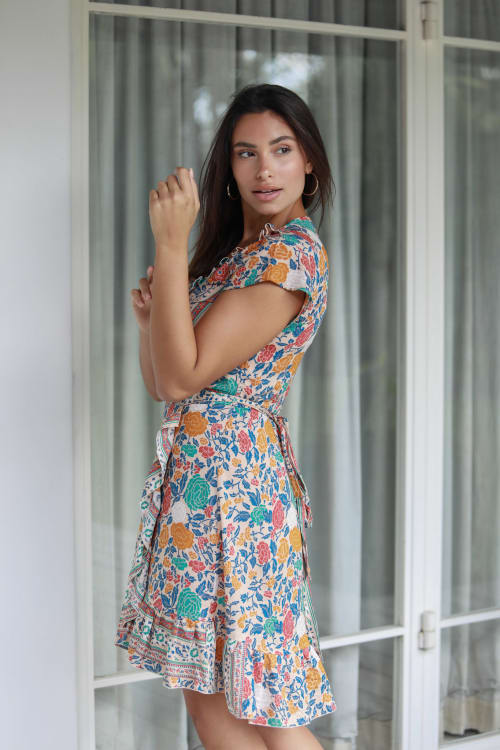 Short Sleeve Multi Print Wrap Dress - Back