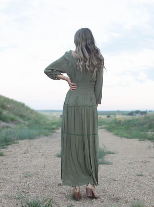 Sage Clip Dot Maxi Peasant Dress - Back