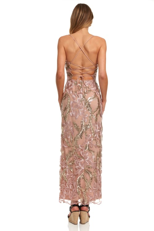 Embroidered Floral Maxi Dress With Slit - Back