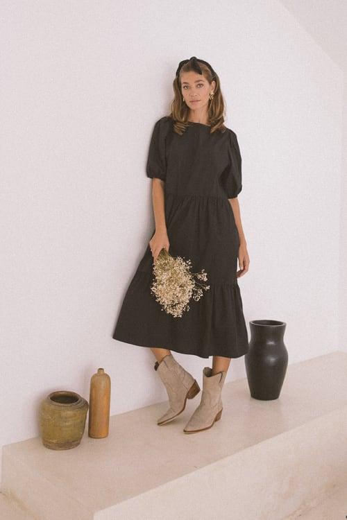 Oversized Midi Babydoll Dress - Plus - Back
