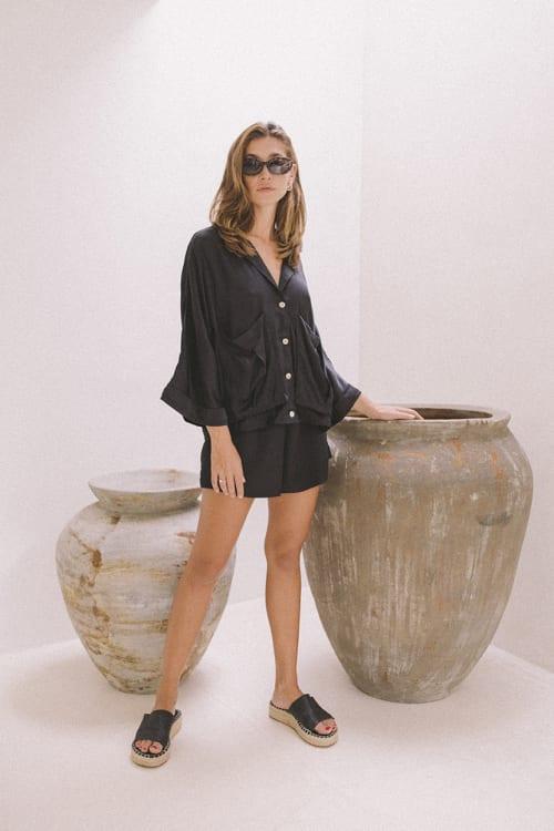 Cashmere-Like Flowy Shorts - Back