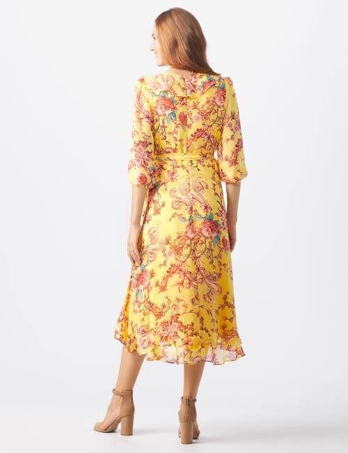 Floral Scroll Print Dress - Back