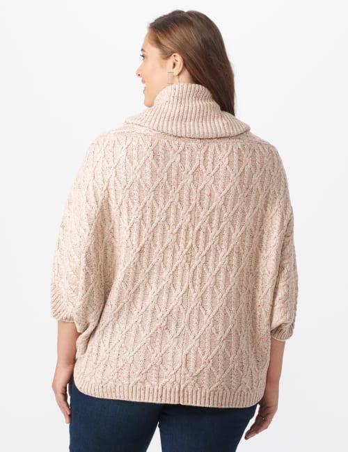 Westport Novelty Yarn Poncho Sweater - Plus - Back