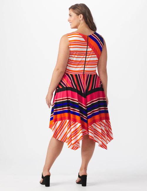 Sleeveless Striped Colorful Dress - Plus - Back
