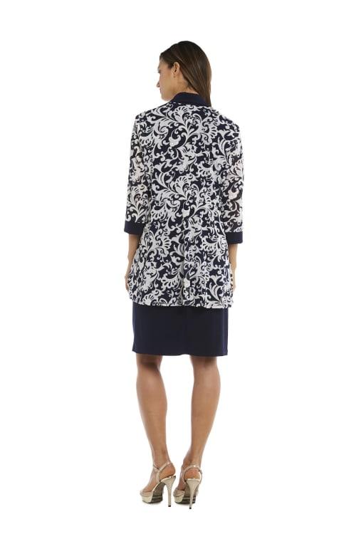 Two Piece Puff Print Jacket Dress - Back