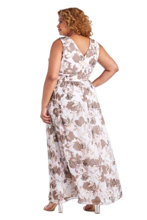 Rhinestone Detail Waist Floral Print Dress - Plus - Back