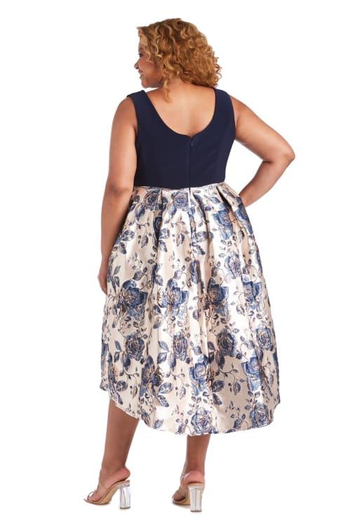 Metallic Brocade Square Neck High Low Dress - Plus - Back