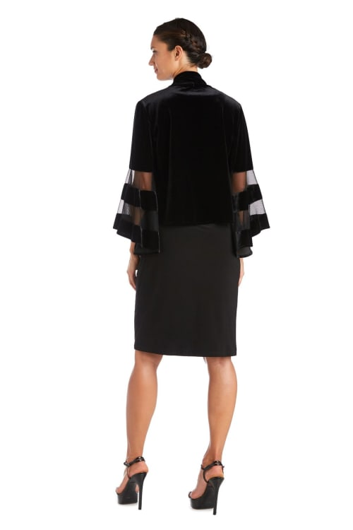Waterfall Jacket with Sheer Band Butterfly Sleeves - Back