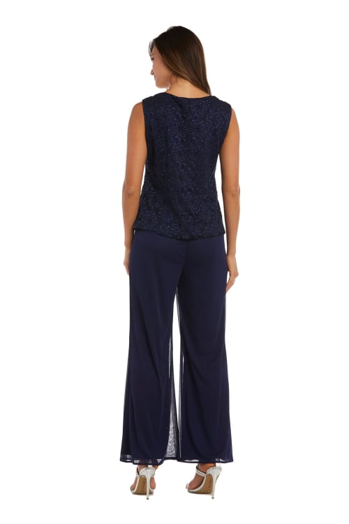 Three-Piece Pant Set with Lace, Pearl Detail and Sheer Cardigan - Back