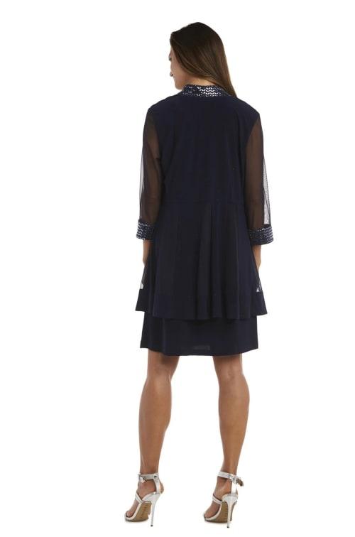 Dress and Jacket Set with Sheer Sleeves and Embellished Edges - Back