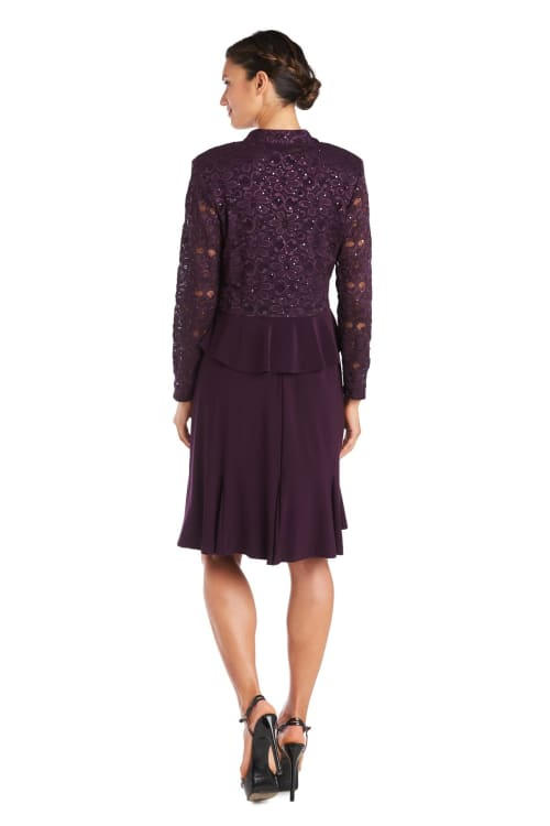 Knee-Length Dress with Ruched Bust and Lace Detailing with Lace Jacket - Back