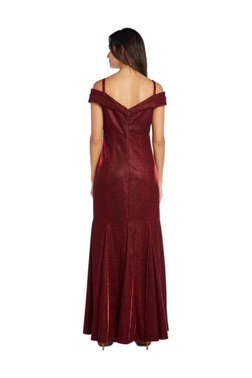 Off the Shoulder Gown with Fishtail and Metallic Finish - Back