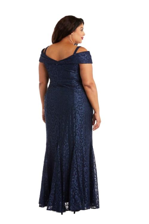 Off the Shoulder Glitter Lace Gown Godet Pleats at Hem - Plus - Back