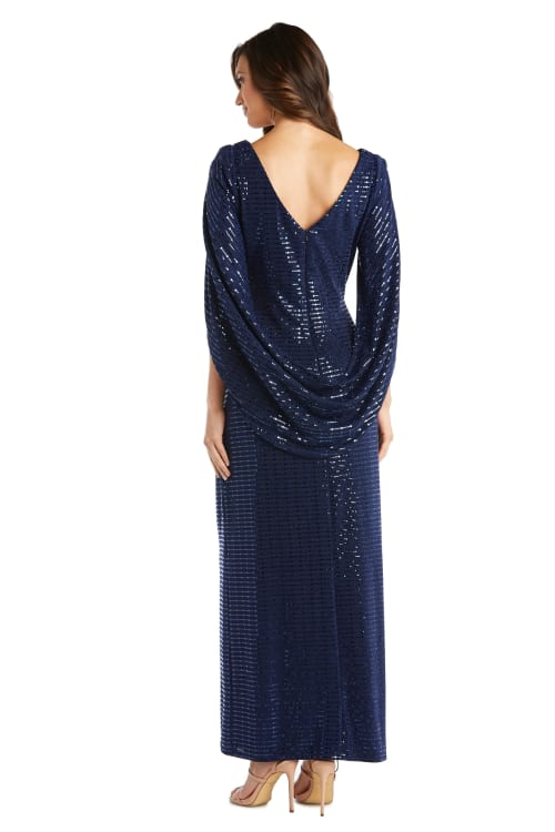 Sequined Column Gown with Cape-Shawl Sleeves - Back