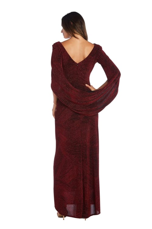 Fitted Column Gown with Shawl Sleeves and Metallic Finish - Back