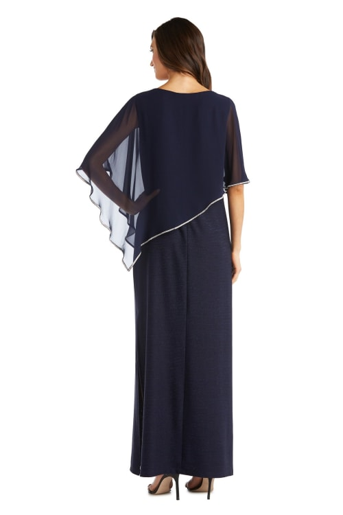 Rhinestone Caplet Metallic Stripe Dress - Back