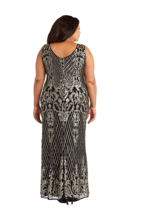 Sequined Maxi Gown with V-Neck and Fitted Silhouette -Plus - Back