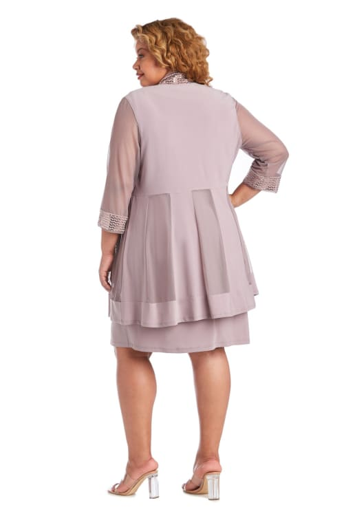 Dress and Jacket Set with Sheer Sleeves and Embellished Edges - Plus - Back