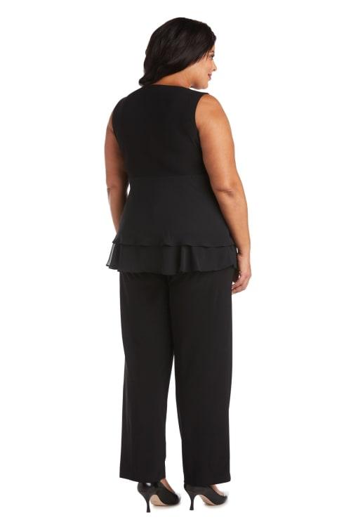 Two Piece Rhinestone Pinch Sleeveless Pant Set -Plus - Back