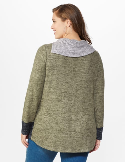 DB Sunday Color Block Hacci Cowl Neck Sweater Knit Top - Plus - Back
