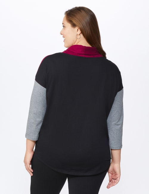 DB Sunday Color Block Knit Top - Plus - Back