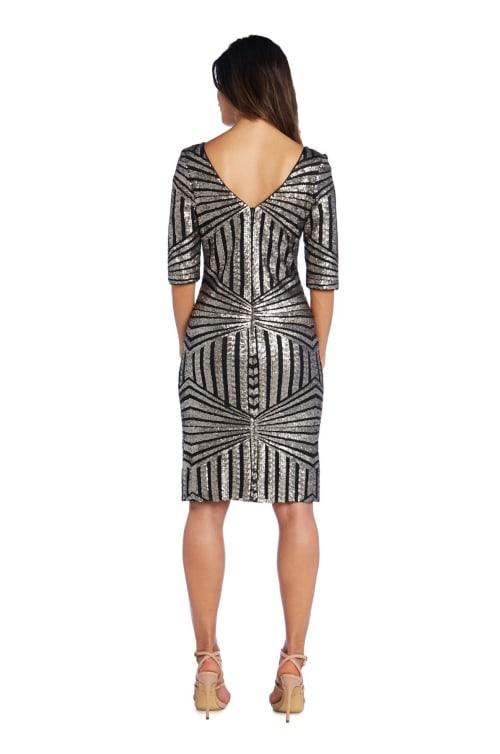 Three Quarter Sleeve Sheath with Sequin Detail Dress - Petite - Back