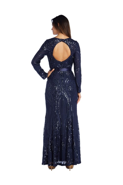 Long Sleeved with Sequins, Satin Sash And Cutout Back Evening Gown - Petite - Back