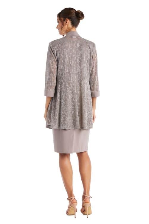 Two-Piece Metallic Knit Jacket Dress -Petite - Back