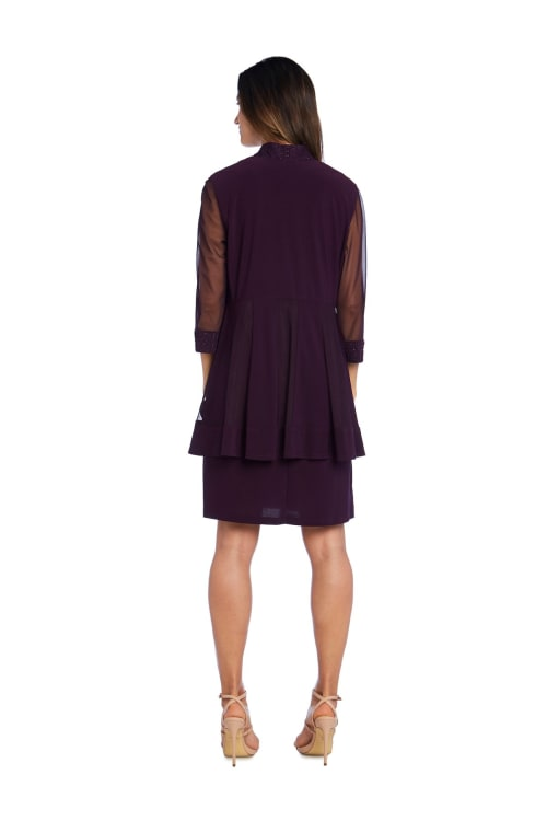 Shift Dress and Jacket with Textured Detail and Sheer Inserts Set  - Petite - Back