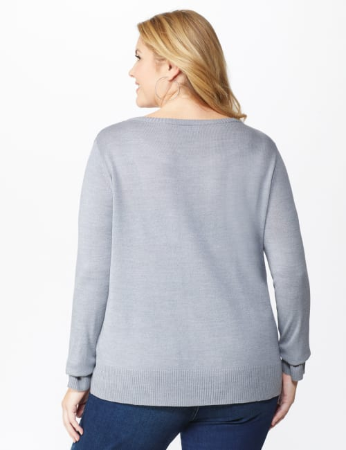 Roz & Ali Sparkle Pullover Sweater - Plus - Back