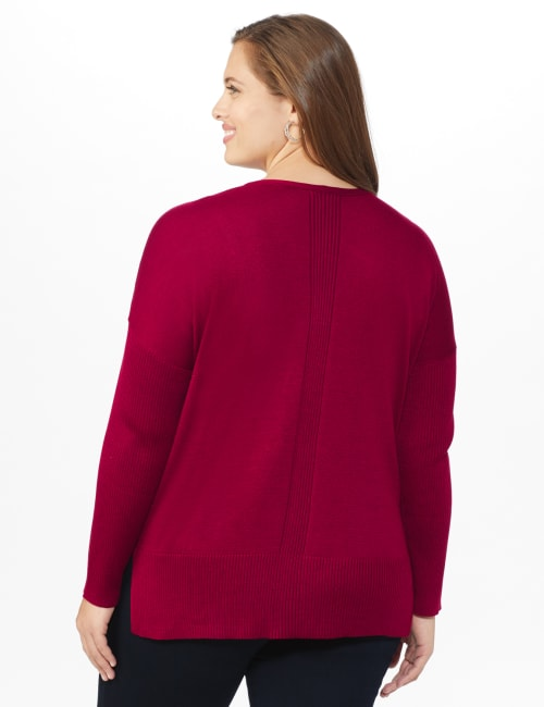 Roz & Ali Beaded Sweater Tunic - Plus - Back